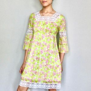 Lilly Pulitzer boho square neck bell sleeve dress